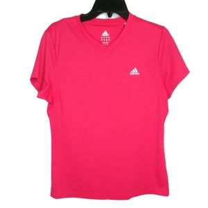 Adidas Bright Pink V Neck Short Sleeve Shirt Sz L